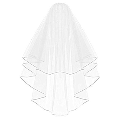 Lansue elegante semplice double ribbon edge bridal wedding veil con pettine (bianco)