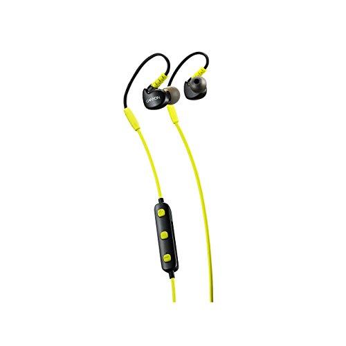 Canyon sbths1l auricolari sportivi bluetooth senza fili, microfono per cuffie da palestra, 6 ore di autonomia, per ipad tablet pc portatile iphone iphone, giallo