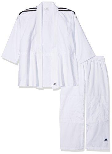 Kimono de judo iniciación para niño. Uso iniciación, alevín, benjamín (principiante). SE VENDE SIN EL CINTURÓN, numerosos refuerzos. Tejido de grano de arroz de 350 g/m² aproximadamente. Cintura elástica hasta la talla 150cm. Bandas azul / blanco / ...