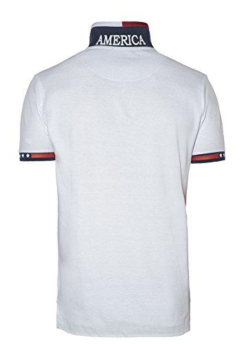 Beverly Hills Polo Club Herren Kurzarm 100% Baumwolle Polo Shirt - BHPC 3002 Weiß