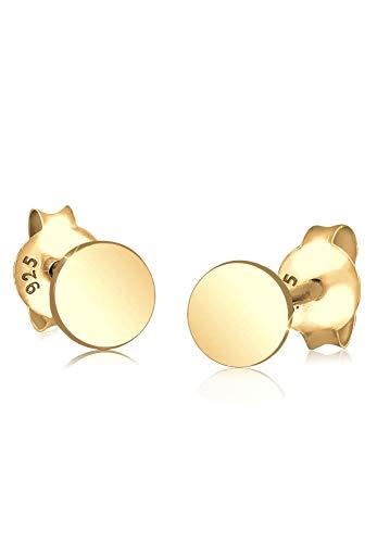 Elli Damen Ohrstecker 925 Sterling Silber Kreis Basic Geo Trend Rund Blogger Klassisch Vergoldet, Gold
