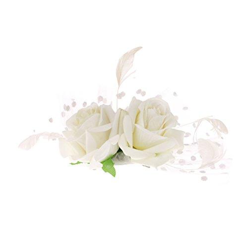oire Partei Hochzeit Fascinator Feder Blumen Clip Brosche Weiß (Blume Und Feder-haar-clips)