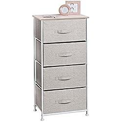 mDesign Cómoda de tela para organizar armarios con 4 cajones – Mueble organizador para dormitorio, vestidor, oficina y más – Cajoneras para armarios livianas en tela con estética de yute – beige