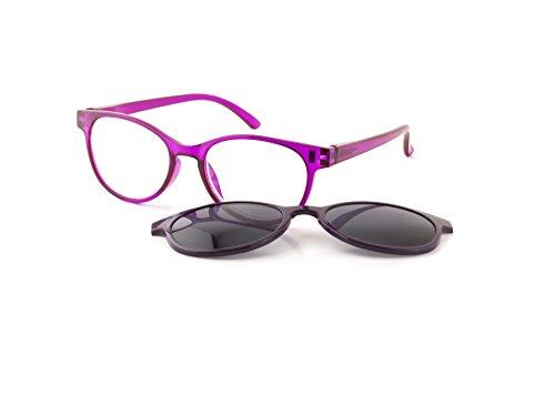 Michael Pachleitner Group Premium Female Clip-Lesehilfe mit Sonnenschutzclip und Federscharnier inklusive Etui, violett / +2 Dioptrien