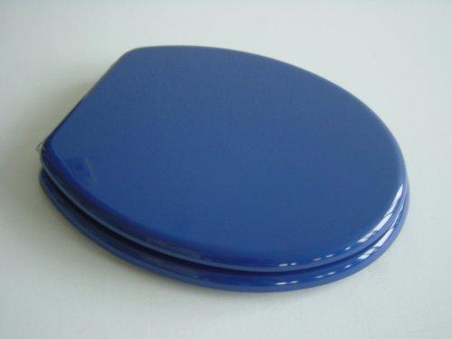 ADOB WC Sitz Klobrille mit Holzkern, verstellbare Metallscharniere, blau, 87065