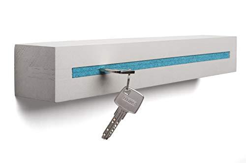 Buchenbusch urban design Schlüsselbrett aus Beton - Modernes Schlüsselboard inkl. Filzeinlage in Türkis - Schlüsselhalter für bis zu 10 Bunde