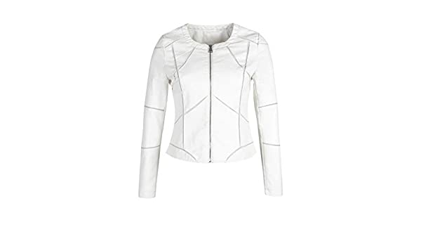 SOLADA Giacca Bianca in Ecopelle Donna Bianco Mix: Amazon.it
