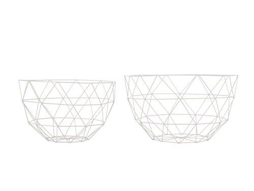 Modernes Draht Obstkorb Schüssel-Set von zwei Linea weiß