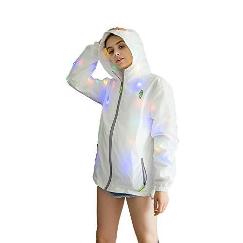 UMIWE Mantel anzünden, Männer LED Jacke, Frauen Classic Jacke Zip up Coat, Jacke Active Outdoor - Leicht und atmungsaktiv, Fit für Nachtclubs, Bars, Eventveranstaltungen, Alltag, leuchtender (Mittel) (Gehen Jacke)