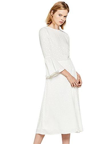 find. Damen Kleid mit Rüschen und 3/4-Arm, Weiß (Ivory), 38 (Herstellergröße: Medium)