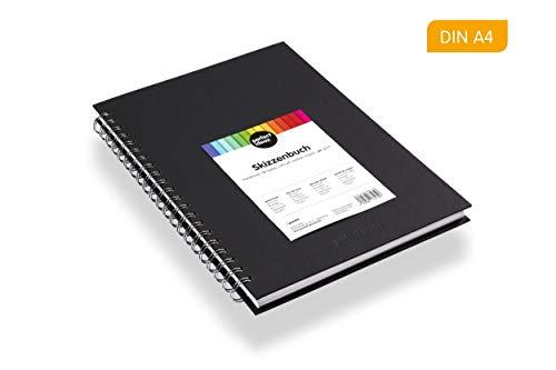 perfect ideaz DIN-A4 Skizzen-Buch 96 Seiten (48 Blatt), professioneller Zeichen-Block, Hard-Cover in schwarz, Spiral-Ring-Buch mit blanko Papier in Weiß, 200 g, leeres Sketch & Black-Book zum Zeichnen
