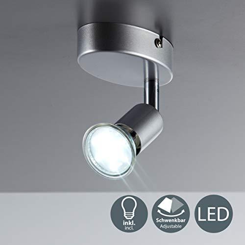 LED Deckenleuchte LED Deckenlampe LED Deckenstrahler LED Lampe LED Leuchte Deckenleuchte Spot LED Deckenspot inklusive 3W GU10 warmweiss schwenkbar Metall titanfarbig Wohnzimmer 1 flammig Wand - Ein K-lampe