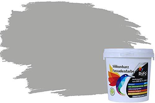 RyFo Colors Silikonharz Fassadenfarbe Lotuseffekt Trend Mausgrau 1l - bunte Fassadenfarbe, weitere Grau Farbtöne und Größen erhältlich, Deckkraft Klasse 1