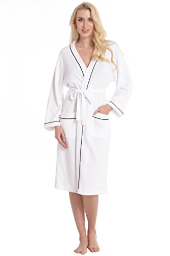 aibrou-unisex-waffle-weave-white-dressing-gown-ladies-100-cotton-lightweight-bath-robe-for-spa-hotel