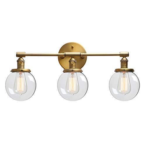 Phansthy Industrial Lámpara de pared, 3 luces con interruptor, globo de cristal transparente, lámpara...