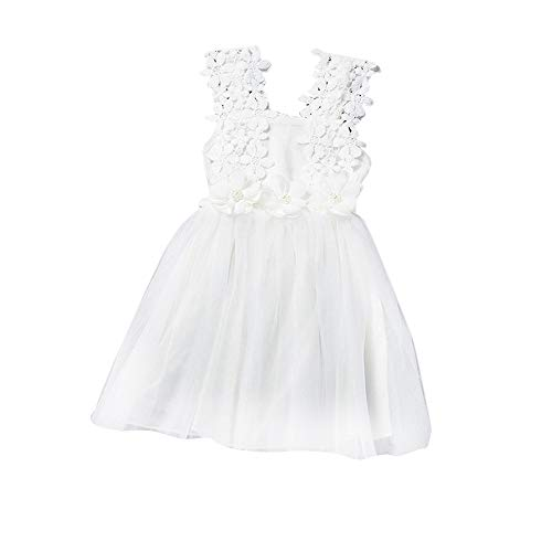 Berimaterry Mädchen Kleid Festlich Prinzessin Kleid Blumenmädchenkleid Spitze Mesh Tutu Taufkleid Hochzeit Partykleid Brautjungfer Festzug Kleider Gr.90-130