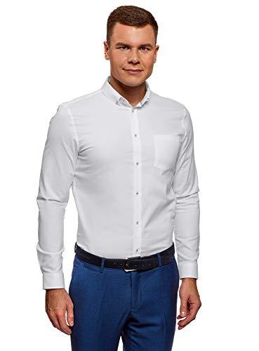 Oodji ultra uomo camicia basic slim fit in cotone, bianco, 40cm / it 46 / eu 40 / s
