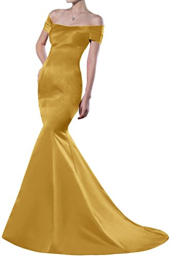 Sunvary Mermaid Off-the-spalla raso per abiti da sera lungo Homecoming Gowns Gold