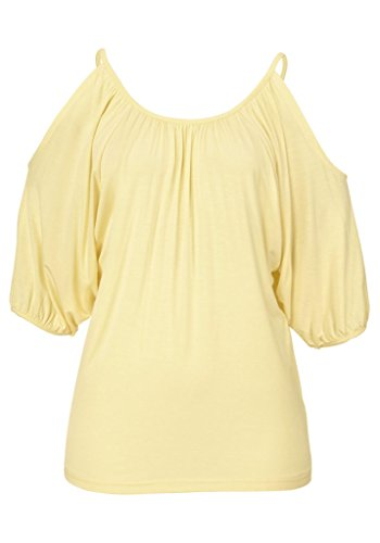 Bigood Femme T-shirt Loose Sans Bretelles Blouse Rond Col Chemise Uni Jaune