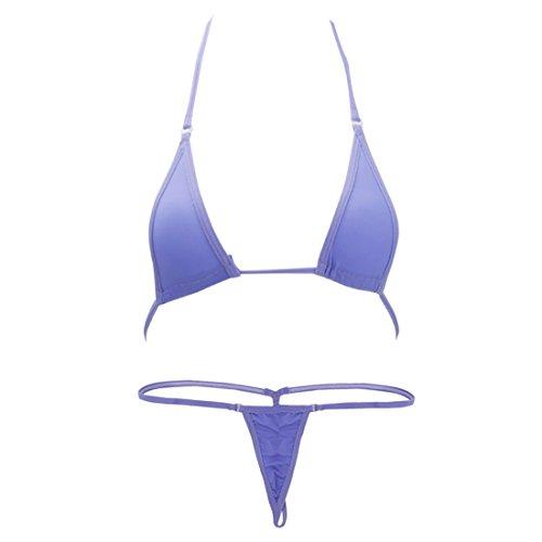 Tiaobug Damen Bikini Set BH Bra String-Tanga Set Mini Bikini Sexy Badeanzug Bademode (Lavender)