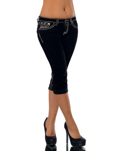K900 Damen Capri Jeans Hose Damenjeans Caprihose Caprijeans Bermuda Dicke Naht, Farben:Schwarz;Größen:40 (L) (Capris Denim)