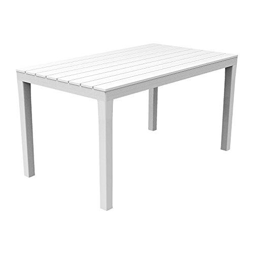 Mojawo Bistrotisch Kunststoff 138x80x72cm Weiß rechteckig Balkontisch Gartentisch Terrassentisch