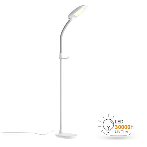 Aglaia LED Stehlampe, dimmbare Standleuchte 11W mit 3 Farbtemperaturen und 4 Helligkeitsstufen,die Stehleucht ( Augenpflege) für Wohnzimmer -Weiß (Einer Deckenfluter Ist Auf Stehlampe)