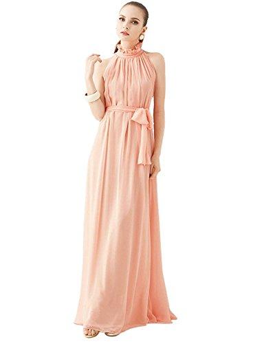 medeshe Pêche Rose en mousseline de soie longue Maxi robe de demoiselle d'honneur parti - Peach Pink