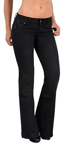 by-tex Damen Jeans Hose Bootcut Damen Jeanshose Boot-Cut Damen Hüftjeans in aktuellen Designs CC (Stretch Schwarz Boot Damen)