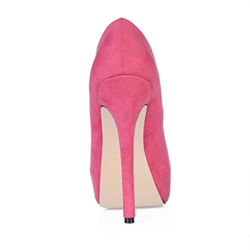 Best 4U® Stivaletti da donna Suola di gomma Punta tonda 14CM Tacco alto Elastico in velluto Stivali comodi Piattaforma 3CM Inverno Pink
