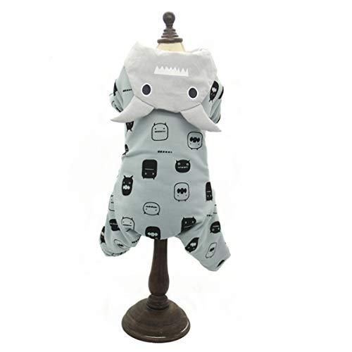 Süße 4-Beine Kapuzenjacke für Kleine Mittlere Hunde Bedruckte Baumwolle Hundemantel Daunen Sweatshirt Welpen Jacke Warme Hundekostüm...