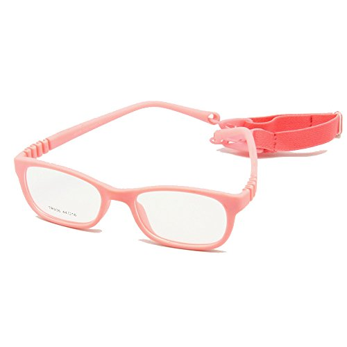 EnzoDate Flexible Kinder Brillen Rahmen Größe 44/16 TR90 Kinder Gläser, keine Schraube, Unzerbrechlich Safe Light Boys Mädchen Optische Brillen (Rose)