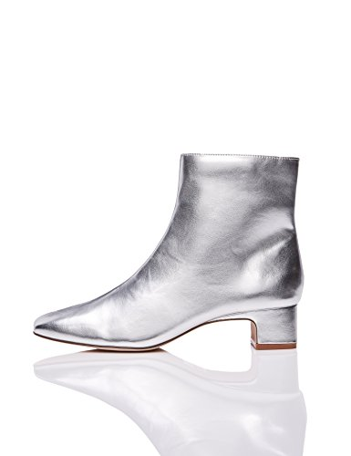 Find. Botines con Puntera y Tacón Bajo Mujer, Plateado Silver Silver, 38 EU