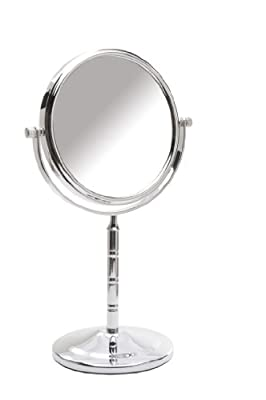 Danielle 15cm Chrome Ribbed Pedestal Mirror x 5 Magnfied