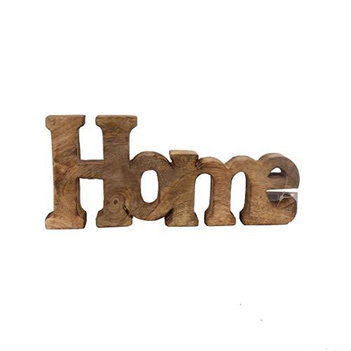 T&D Deko Figur Schriftzug Home aus Mangoholz Wohnaccessoires von Gilde Handwerk 25 x 11 cm