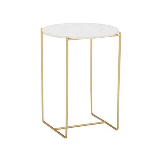 Chenquan CSQ Eisen Kunst Golden Ein Paar, Haushalt Wohnzimmer Dekoration Couchtisch Marmor Rundsofa Tabelle 40 * 40 * 60 cm (Größe : 40*40*60CM)