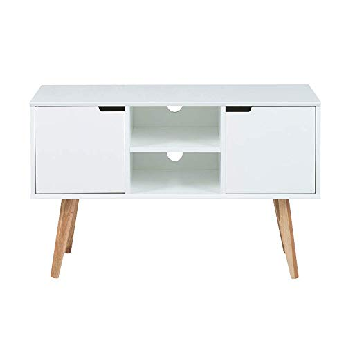 Selsey - Moira - Meuble TV/Meuble Salon - 96 cm - Blanc/chêne - piètement en Bois de chêne - Style Minimaliste - Style scandinave