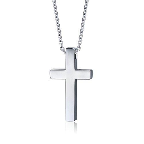 Beydodo Edelstahl Halsketten für Herren (Anhänger Halskette),Jesus Christliche Kreuz Silber (Kostüm Oktoberfest Diy)