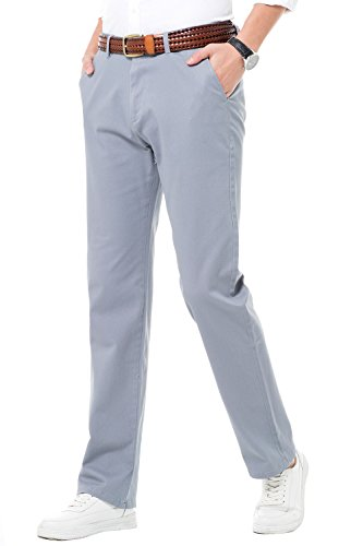 HARRMS Herren Baumwolle Hose, Regular Fit, Straight Leg, Lange Business Hose Casual Stoffhose Freizeithose Elastisch,Grau,34 (Casual Business Hosen)