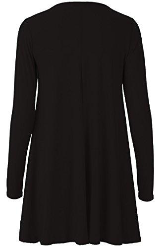 Fast Fashion - Swing Robe De Hanky Manches Longues, Plus La Taille Plaine - Femmes Noir