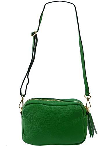 Freyday Echtleder Umhängetasche Clutch kleine Tasche Abendtasche 20x15cm (Grün) -