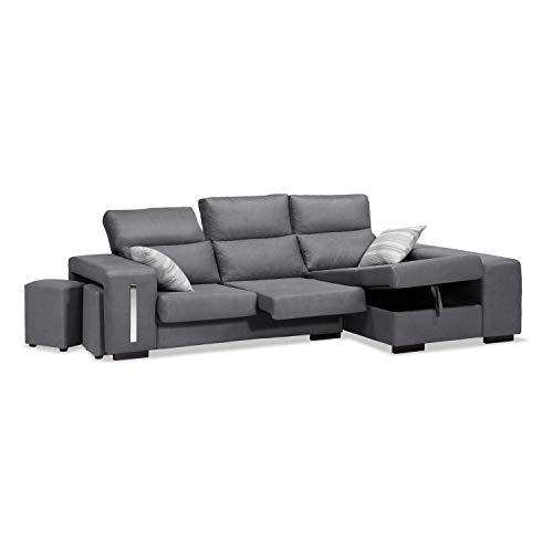 Muebles Baratos Sofa con Chaise Longue 3 plazas, Color Gris Marengo, arcon abatible, ref-106