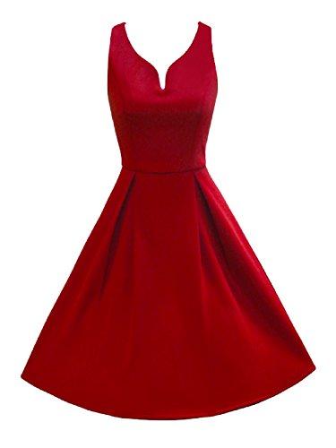 LUOUSE Robe Années 50 Classique Clarity 'Aura' Rouge
