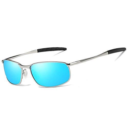 FEIDU Sonnenbrille für Männer Stilvolle HD Objektiv Metallrahmen Sonnenbrille FD 9005(Blau/Silber)
