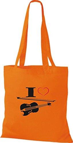 Shirtstown Stoffbeutel Musik I love Violine Bratsche Geige Orange