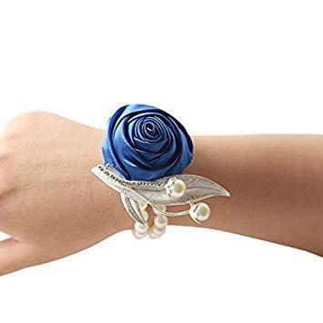 Tianu Pulsera de perlas de boda con diseño de rosas para niña o dama de honor, azul, 3x3x3cm