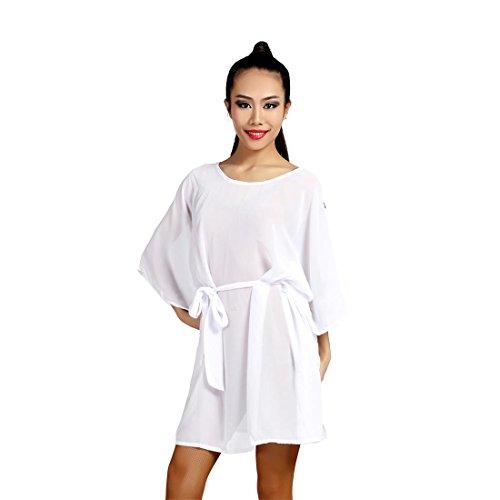 G1017 Latin Tanz Chiffon- Kleid Angeboten von GloriaDance (white, free-size) (Waltz Kurzarm-kleid)