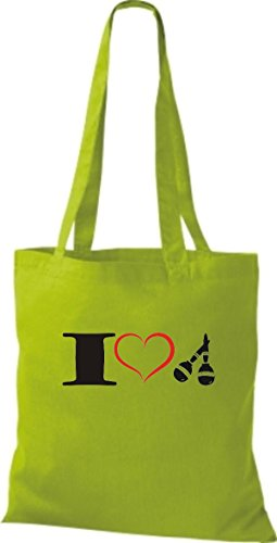 Musica Da Tote Bag Di Shirtstown Adoro Maracas Lime