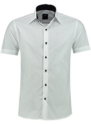 J'S FASHION Herren-Hemd – Slim-Fit – Bügelleicht – Business, Hochzeit, Freizeit – Kurzarm Hemd für Männer 105 Weiß XXL