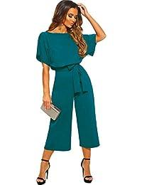 a1db26fdf Longwu Women's Elegant High Waist Short Sleeve Jumpsuit Casual Wide Leg  Pants Loose Rompers with Belt
